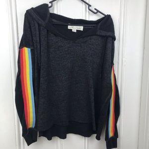 Vintage Havana rainbow gray crop hoodie sweatshirt